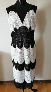 Dress The Population White & Black Lace Dress XL